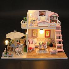 Handmade Wood Flash Loft Hut DIY House Toy Miniature Dollhouse Birthday Gifts Educational Toys Doll Accessories Girl DIY Toy
