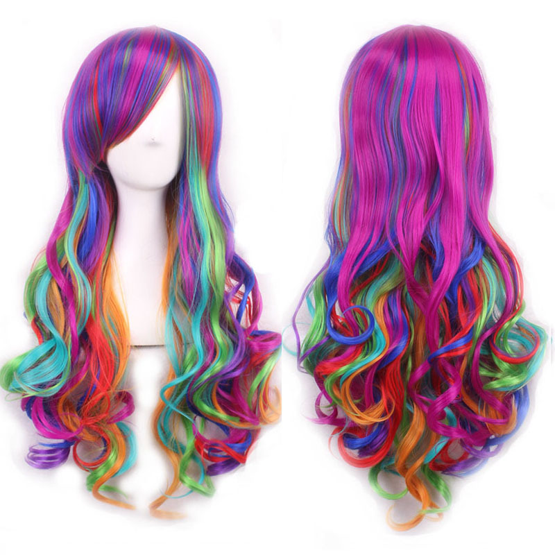 Top Wig Women Anime Cosplay Wig Long Curly Wave Harajuku Style Rainbow Hair Party Costume Lolita Wig