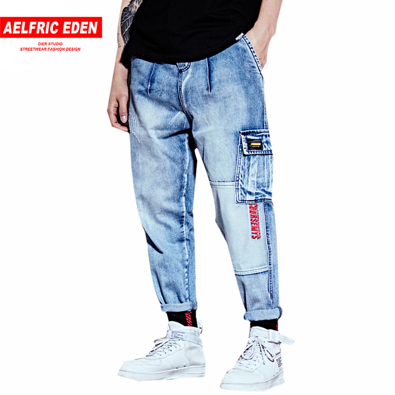 Aelfric Eden Letter Embroidery Summer   Jean   Denim Men Ripped Casual Pants 2018 Brand Fashion Joggers Ankle-length Blue   Jeans   UR16