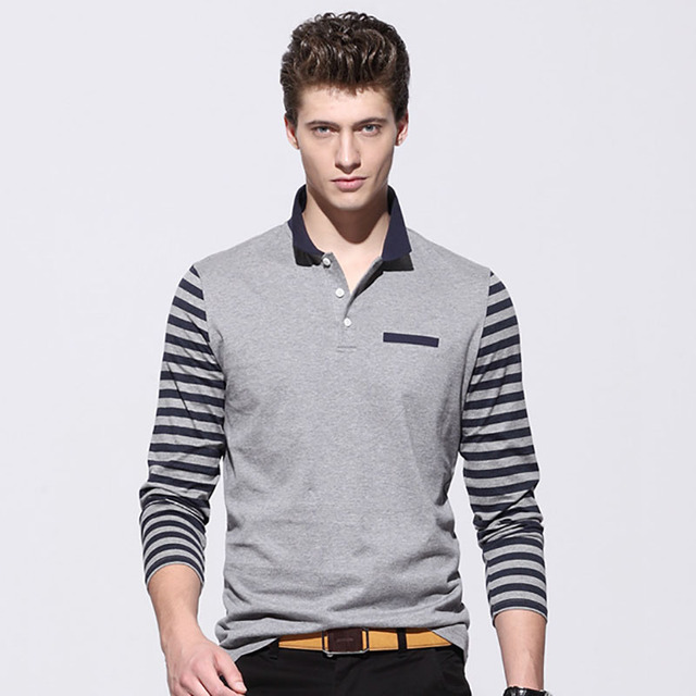 Mens Polo Shirt Brands Long Sleeves Men Striped Slim Polo Shirts with Pockets Men's Casual Polos Camisa Polo Masculina de Marca