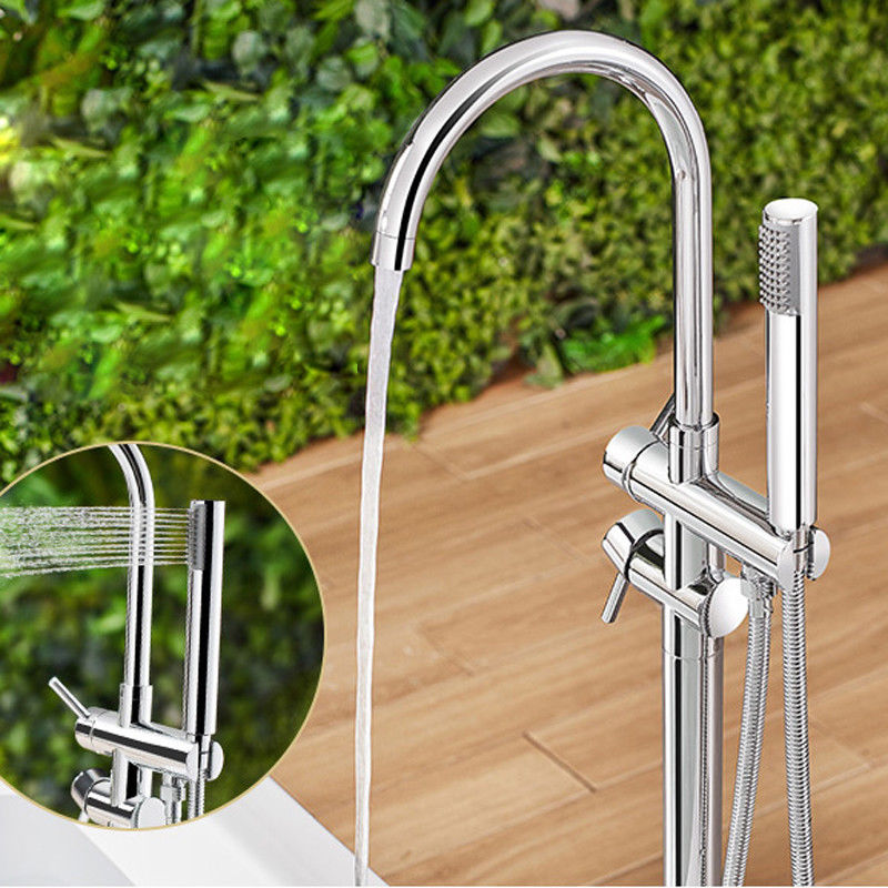 Floor Standing Tub Faucet Chrome Brass Floor Mounted Bathtub Shower Faucet Set Free Standing Tub Filler Ha kemaidi floor standing bathtub faucets brass chrome free standing bath shower mixer set bath tub faucet with handshower