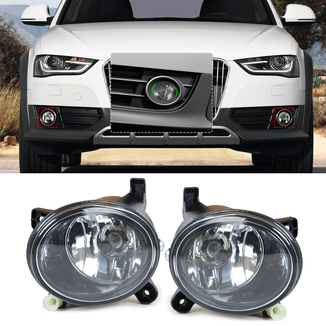 DWCX 8T0941699B, 8T0941700B Front Right Left Fog Light Lamp for for Audi A4 B8 / S4 / A4 Allroad / A6 C6 / S6 / A5 / S5 / Q5 новый стартерный двигатель oem 0001108174 для vw passat audi a4 a6 allroad quattro s4 t