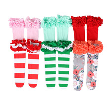 Kaiya Angel 2017 Hot Kids Baby Girl Christmas Winter Cute Floral Socks for Princess Solid Color Socks Factory wholesale