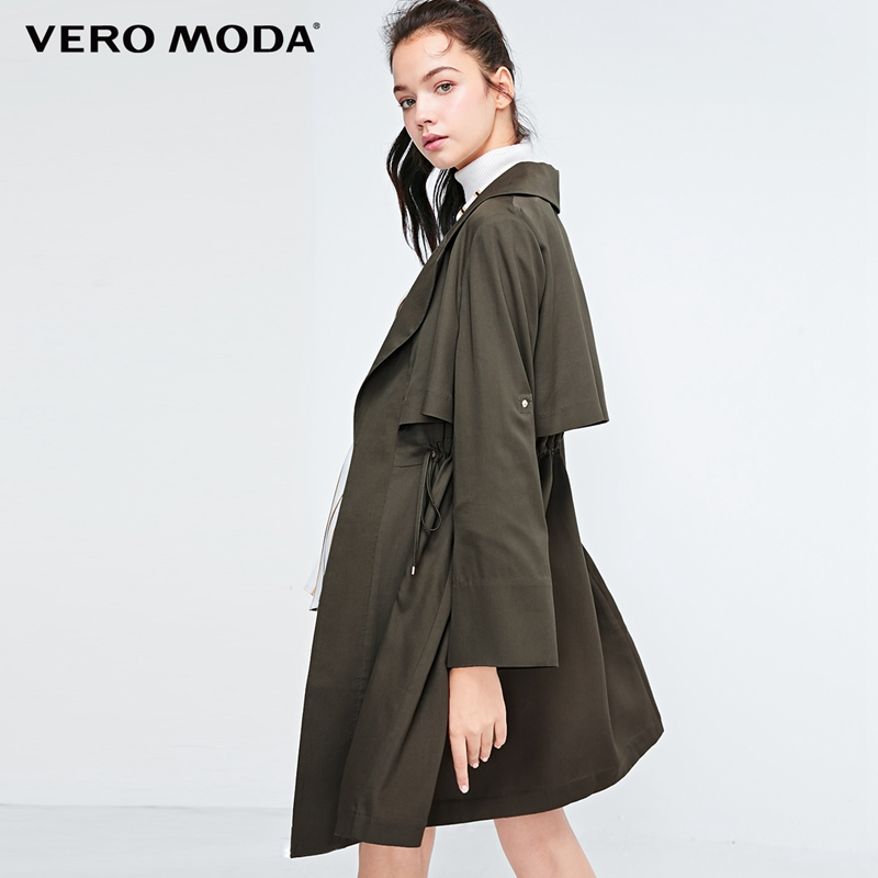 Vero Moda Women's Lace-up Two-way Sleeves Lapel   Trench   Coat | 318321517
