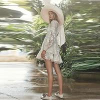 Zim Runway Dress Designer 2018 Autumn Women High Quality V neck Lantern Sleeve White Lace Patchwork A line Mini Dress Vestidos