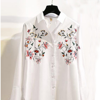 SESOAF Embroidery Female Blouse Loose Shirt Casual Floral Shirt 2017 Spring Summer Cool Long Sleeve Blouse
