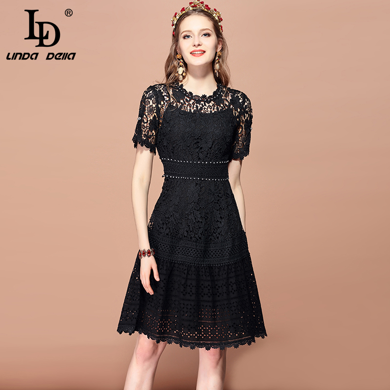 LD LINDA DELLA 2019 Fashion Runway Summer Dress Women s Short Sleeve Hollow out Lace Floral
