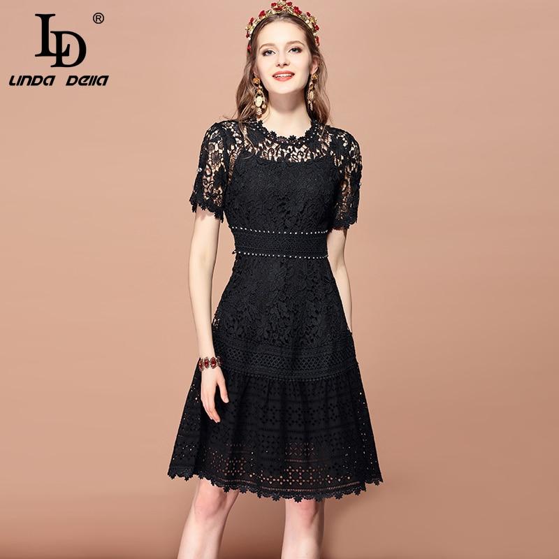 LD LINDA DELLA 2019 Fashion Runway lato sukienka damska z krótkim rękawem Hollow out koronka Floral haftowane rocznika czarna sukienka w Suknie od Odzież damska na  Grupa 1
