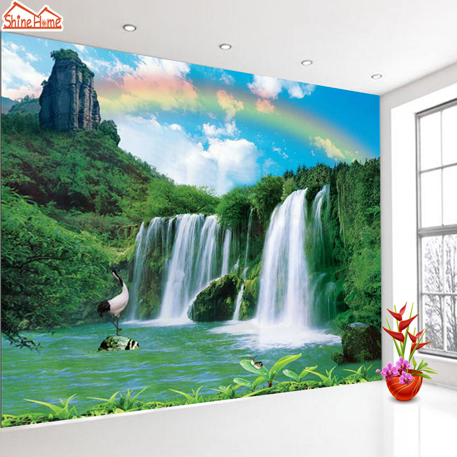 ShineHome-Nature Waterfall Rainbow Forest Lake 3d Photo Wallpaper Rolls for Walls 3 d Livingroom Wallpapers Mural Roll Paper shinehome forest waterfall natural wallpaper roll 3d wallpapers for wall 3 d walls paper rolls papier peint papel de parede 3d