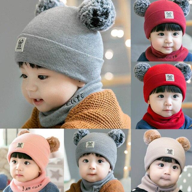 Sơ sinh Bé Bé Cậu Bé Cô Gái hoody Hat Mùa Đông Ấm Knit Crochet Beanie Cap Scarf Set Bé hoody Hat Chapeau đổ enfants # g6