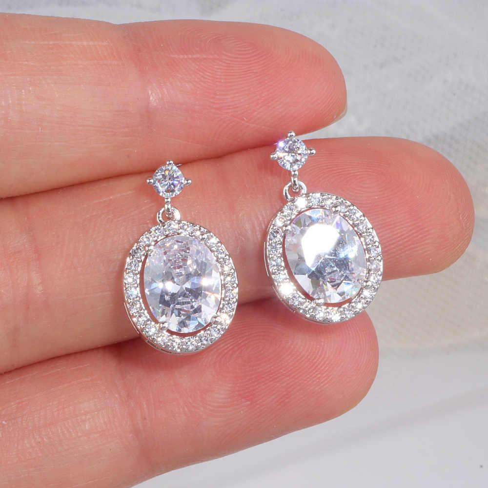 Luxo Brilhante AAA Cubic Zircon Brincos para As Mulheres de Cor Prata Clássico de Cristal Oscila Brincos para Festa de Casamento Jóias