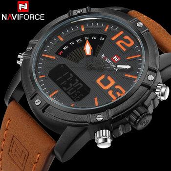 Męskie zegarki sportowe marka NAVIFORCE zegarek z podwójnym wyświetlaczem cyfrowy zegarek analogowy elektroniczny zegarek kwarcowy 30M wodoodporny pomarańczowy zegar tanie i dobre opinie 25cm QUARTZ 3Bar Klamra Stop 15mm Szkło Kwarcowe Zegarki Na Rękę Nie pakiet 45mm Naviforce 9095 Orange Leather NF9095