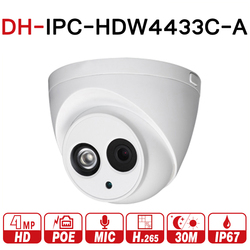 DH IPC-HDW4433C-A with logo 4MP HD POE Network IR Mini Dome IP Camera Built-in MiC CCTV Camera Upgrade From IPC-HDW4431C-A