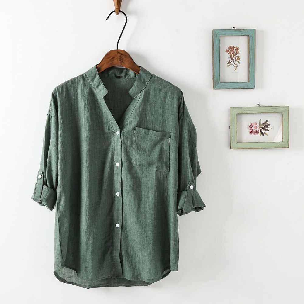 7b047a3e67d2c22 ... Dioufond корейские женские рубашки летние белые с v-образным вырезом  женские блузки повседневные Модные Карманные ...