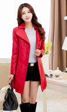 Foreign plus size  women Korean version was thin long section pu leather jacket