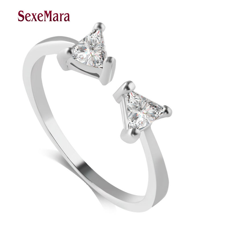 Best Friend Gift High Quality 925 Sterling Silver Bowknot Triangle Hollow Infinity Ring Love Symbol Fashion Ring For Women XZ07