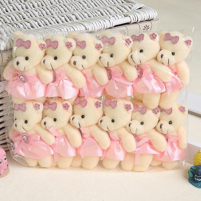 Wholesale 12PCS/lot 12CM Bear Lovely Girls Plush Toy Doll Stuff&plush Mini Bouquets Bear Toy For Promotional Gift