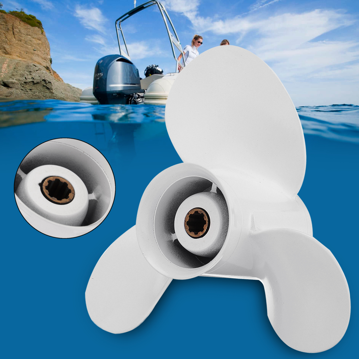63V-45945-00-EL 9 1/4x10 Barca Fuoribordo Elica Per Yamaha 9.9-15HP Bianco 3 Lame In Lega di Alluminio 8 Spline dente R-di Rotazione