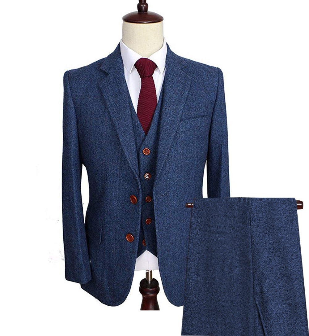 Notch Thick Herringbone Mens Suits Business Wool Tweed 3 Pieces Formal Lapel Tuxedos Blazer Slim Fit Winter Wedding Groom