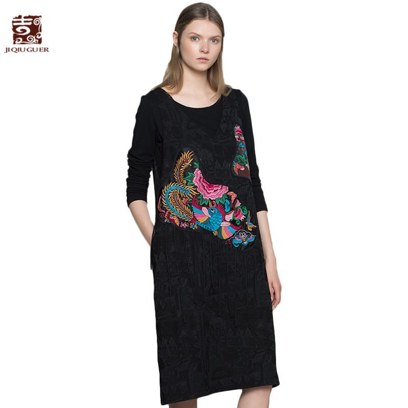 Jiqiuguer Women Autumn Pullover Sundress Tassels Embroidery Patchwork Sleeveless V Neck Gallus Vestidos Vest G173Y008