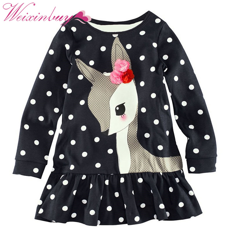 Dress Vestidos Kids Baby Girls Long Sleeve Lace Dress One-piece Dots Deer Cotton Dresses Toddlers Clothes toddlers girls dots deer pleated cotton dress long sleeve dresses