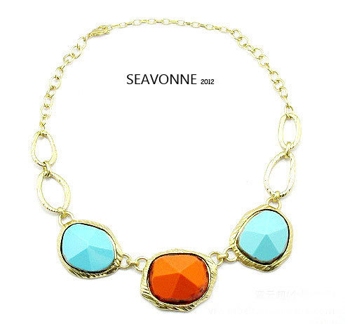 Freeshopping Fashion elegant retro color stone metal necklace dropshipping