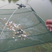 Foldable 80x80CM Fishing Trap Baits Cast Crab Minnow Crawdad Shrimp Dip Fishing Net Sea Fishing Tackle Accessory Tools