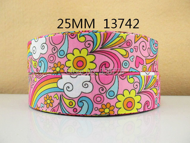 "(5yds per roll) 10Y13742 kerryribbon tape 1"" grosgrain printed ribbon polyester diy headwear garment accessories ribbon"