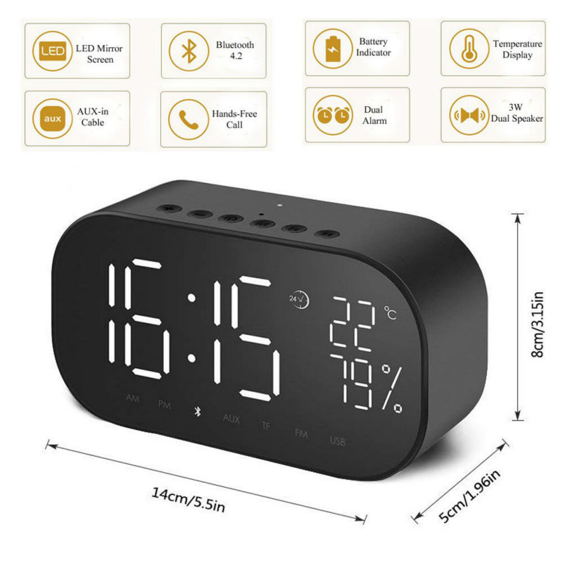 Top SaleAlarm-Clock Speaker Music-Player Fm-Radio Bluetooth Home Wireless LED with Support Aux