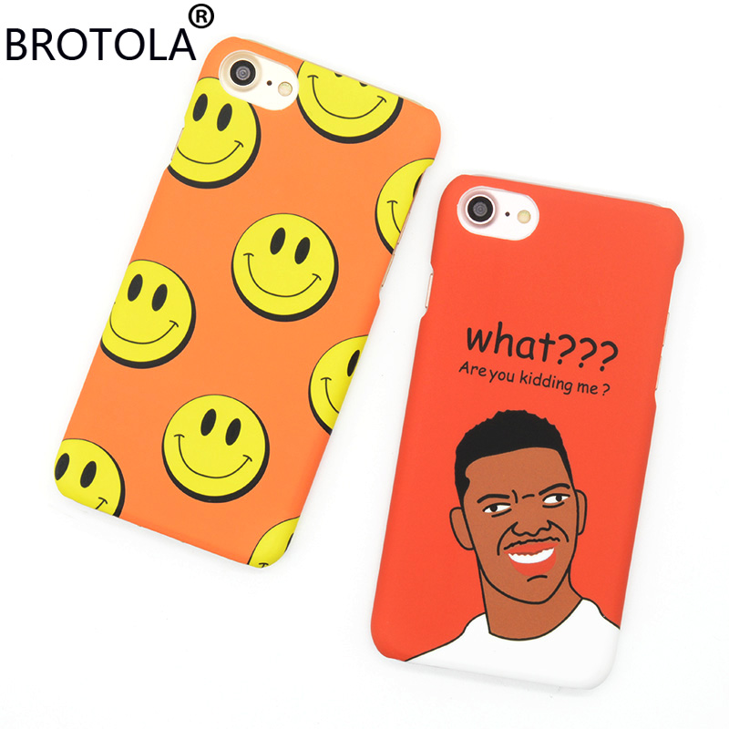 BROTOLA Phone Case For iPhone 6 6s 7 Plus Cartoon Smiling Face Back Cover 3D Relief Funny Man Expression Hard Phone Shell Fundas