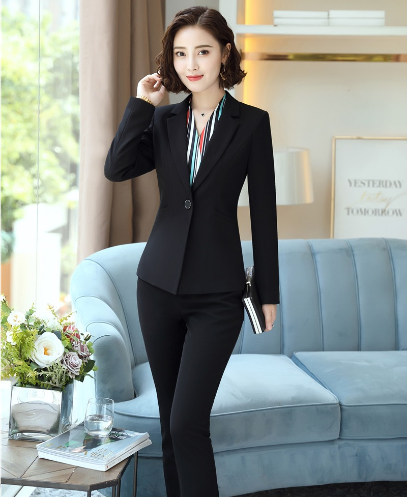 High Quality Fabric 2018 Autumn Winter Business Suits With Jackets And Pants Women Office Blazers Sets Female Pants Suits