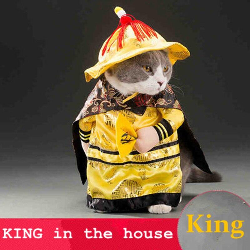 Hot Koop Katten Outfit Kleine Hond Puppy Cat Pet Kostuum Kleding Gouden Koning Rijk Cosplay Kostuums Pak Kleding Kat Hond Levert