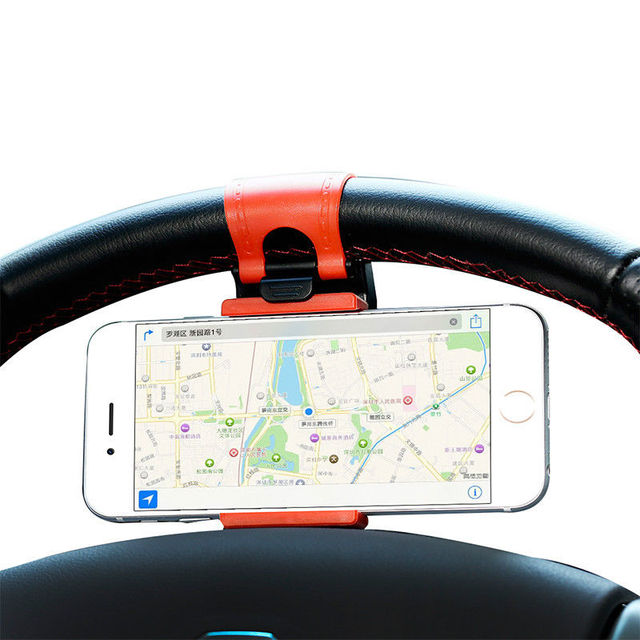 XMXCZKJ Universal Car Steering Wheel Mobile Phone Stand Holder Mount Clip Buckle Socket Hands Free