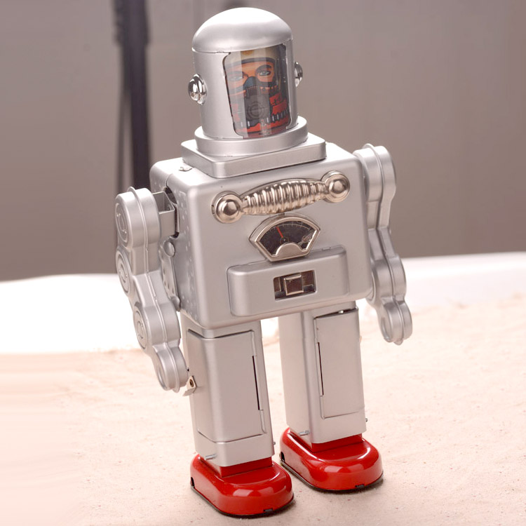 30 cm Tinplate Big Robot Toys Classic Electric Astronaut Robot Toy Handmade Crafts Collection купить