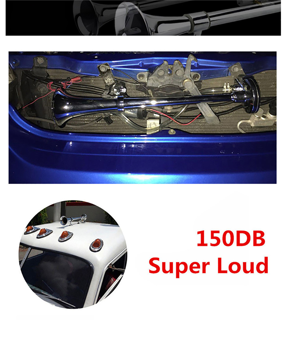 Image 3 - Free shipping 150DB Super Loud 12V/24V Single Trumpet Air Horn Compressor Car Lorry Boat Motorcycle AH015-in Multi-tone & Claxon Horns from Automobiles & Motorcycles