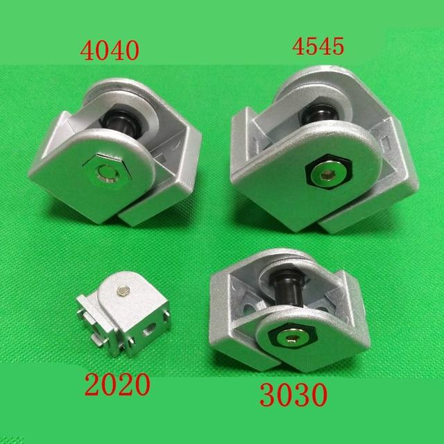 2020/3030/4040/4545 çinko alaşım oturma menteşe alüminyum profil bağlantı parçaları dik açı çinko alaşım esnek Pivot bağlantı konnektörü