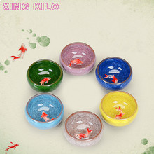 XING KILO Ice cracked glazed 3D carp Teacup colorful fish ceramic cups kung fu tea set 6 colors host cup Kongfu Tea Cup