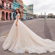 Swanskirt Luxury v-neck Wedding Dress 2019 new Ball Gown Royal Train backless Appliques abiye Bride Dress robe de mariee I112(China)