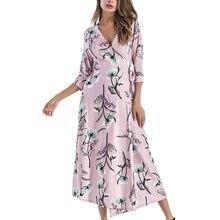 Sexy Deep V Dress Summer Women Floral Print Dresses 2019 Female Beach Vestidos