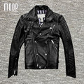Черный подлинная кожаная куртка и пальто мужчины 100% Овчины куртка мотоцикла moto chaqueta hombre весте cuir homme cappotto LT077