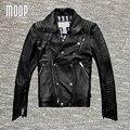 Genuína preta jaqueta de couro e casacos dos homens 100% da pele de carneiro da motocicleta moto jacket chaqueta hombre veste cuir homme cappotto lt077
