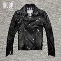 Negro chaqueta y abrigos de los hombres de cuero genuino 100% de piel de cordero chaqueta de la motocicleta chaqueta de moto hombre veste cuir homme cappotto lt077