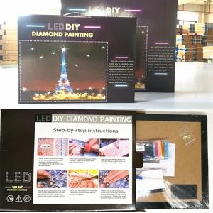 Image 4 - HUACAN LED יהלומי ציור 5D אייפל מגדל יהלום רקמת LED אור מלא עגול תרגיל יהלומי פסיפס 30x40cm עם מסגרת