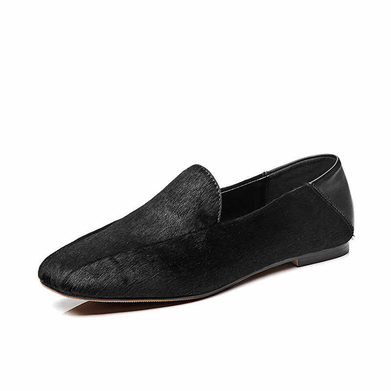 DORATASIA marka yeni büyük boy 33-42 Polka Dot kadın at kılı loafer ayakkabılar kadın rahat parti ofis bahar sonbahar daireler
