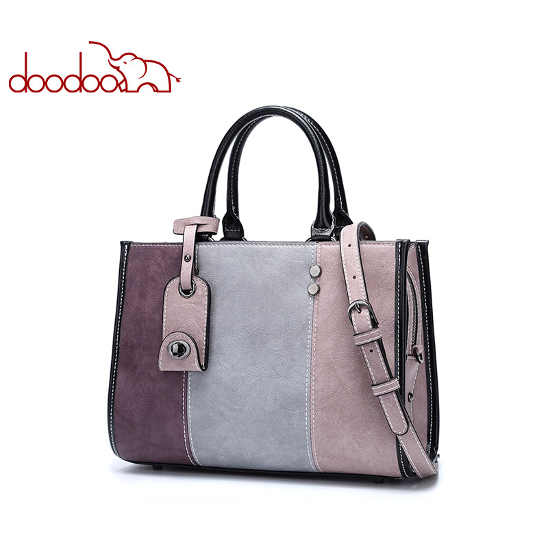 DOODOO Women Pu Leather Handbag Female Shoulder Crossbody Bags Ladies Top-handle Bag Tassel Spell Color Messenger Bags Tote Bag doodoo brand fashion women bag female shoulder crossbody bags ladies artificial leather tassel new small 5 colors messenger bags
