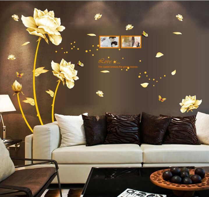 Golden Time Riches and Honour Flowers Chinese Style DIY Wall Stickers Living Room TV/Sof ...