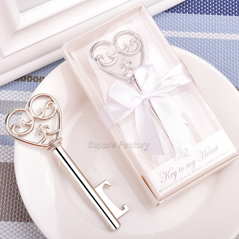 120pcs Silver Beer Bottle Opener Wedding Bottle Opener Key Wedding Favors Party Gift With Box Package