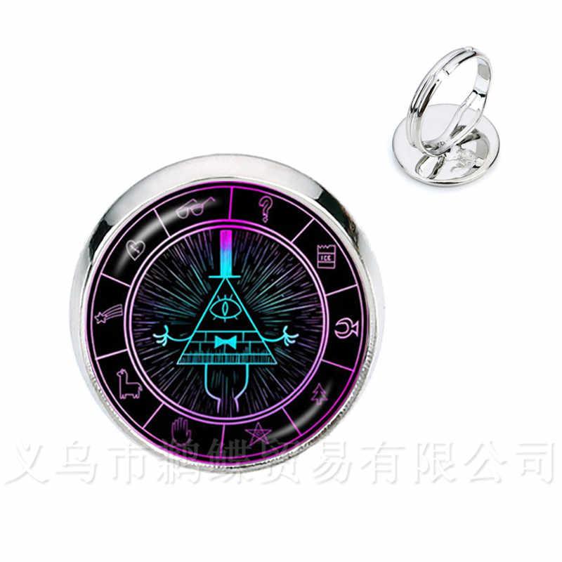2 colores cristal Domo anillos Steampunk Drama Gravity Falls misterio BILL CIPHER rueda tiempo gemas anillos regalo para amigos