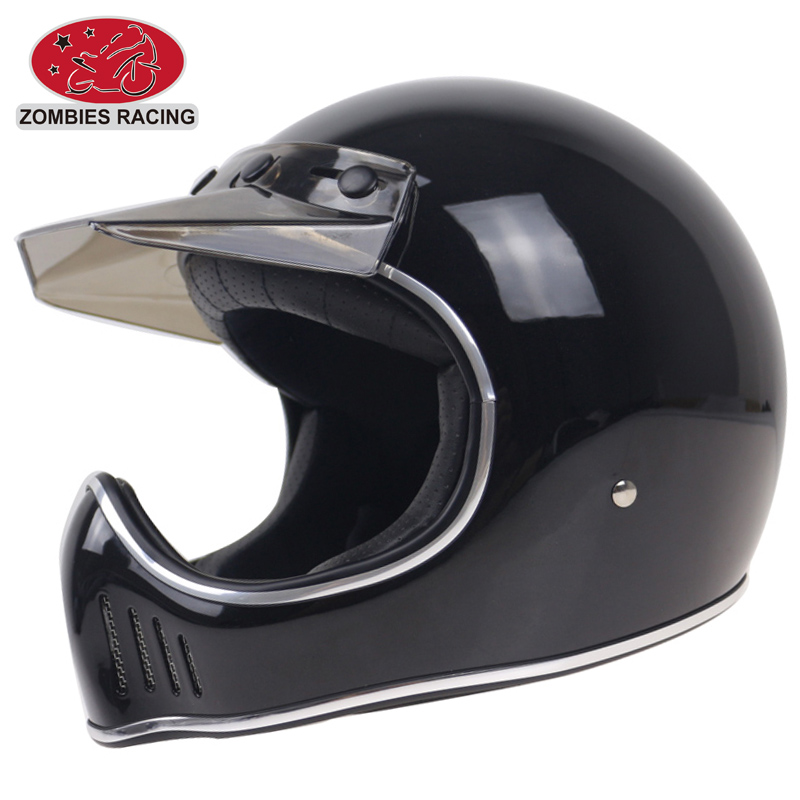 Classique Moto 3 style casque intégral avec visière DD anneau boucle DOT Approuvé FRP supplémentaire coquille de casque de Moto hachoir