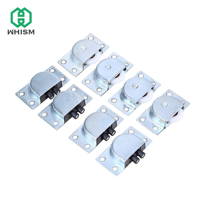 8 Pcs/Set Stainless Steel Sliding Door Wheel Cabinet Nylon Wheels Hanging Slide Wheel Parts Door Slider Rollers Door Hardware